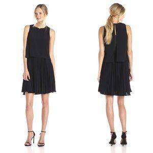 Rebecca Taylor Black Crepe Pleated Midi Dress